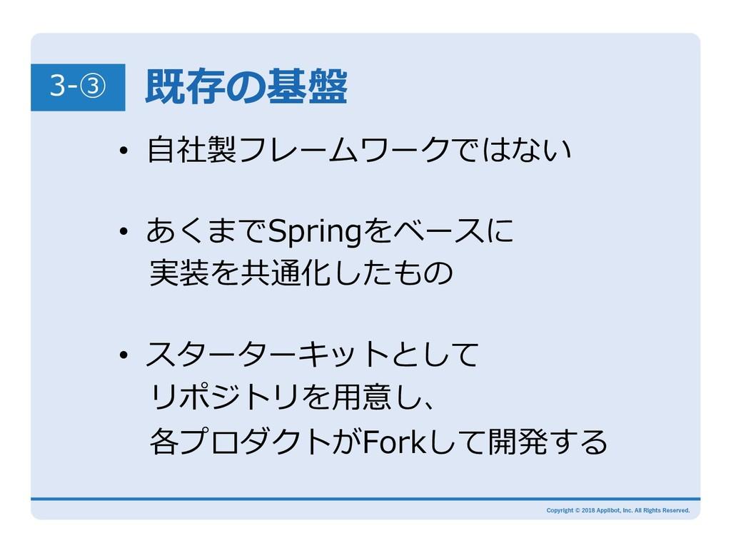 既存の基盤 3-③ • あくまでSpringをベースに 実装を共通化したもの • ⾃社製...