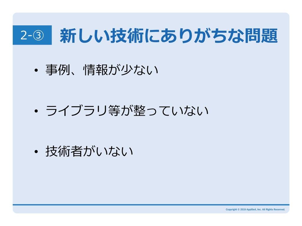 新しい技術にありがちな問題 2-③ • 事例、情報が少ない  • ライブラリ等が整って...
