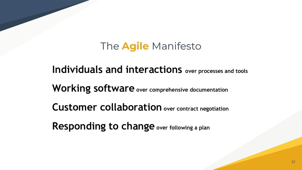 The Agile Manifesto 25 Individuals and interact...