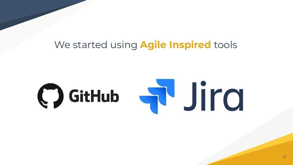 We started using Agile Inspired tools 27