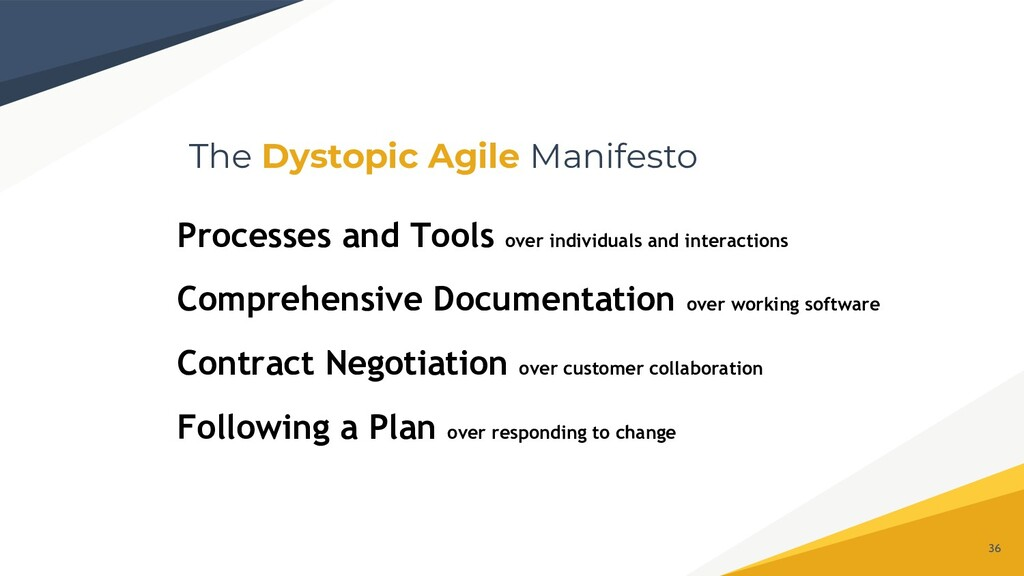 The Dystopic Agile Manifesto 36 Processes and T...
