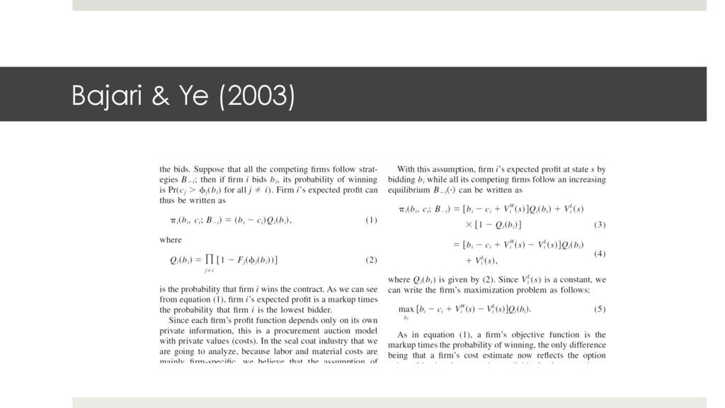 Bajari & Ye (2003)