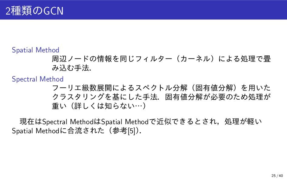 2種類のGCN Spatial Method 周辺ノードの情報を同じフィルター(カーネル)によ...