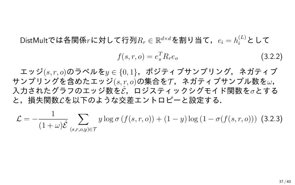 DistMultでは各関係rに対して行列Rr ∈ Rd×dを割り当て,ei = h(L) i ...