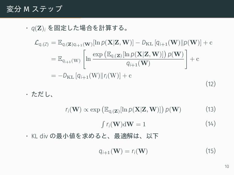 変分 M ステップ • q(Z)i を固定した場合を計算する。 Lqi(Z) = Eqi(Z)...