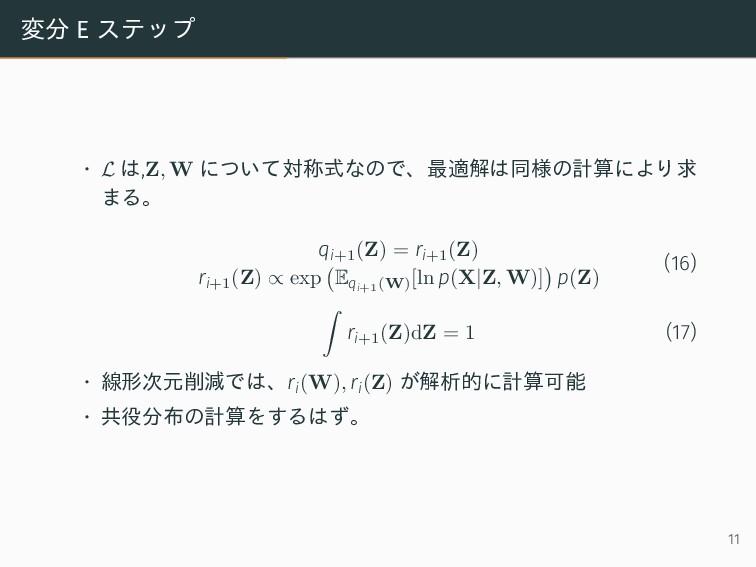 変分 E ステップ • L は,Z, W について対称式なので、最適解は同様の計算により求 ま...