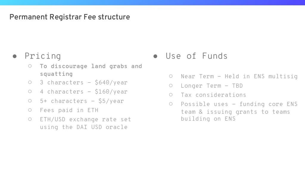 Permanent Registrar Fee structure ● Pricing ○ T...