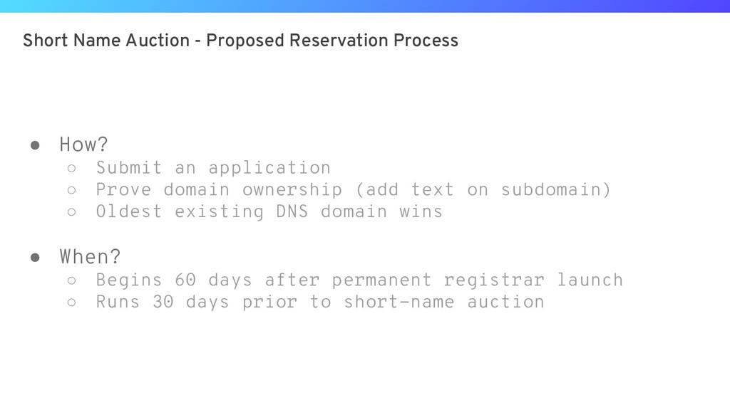 Short Name Auction - Proposed Reservation Proce...