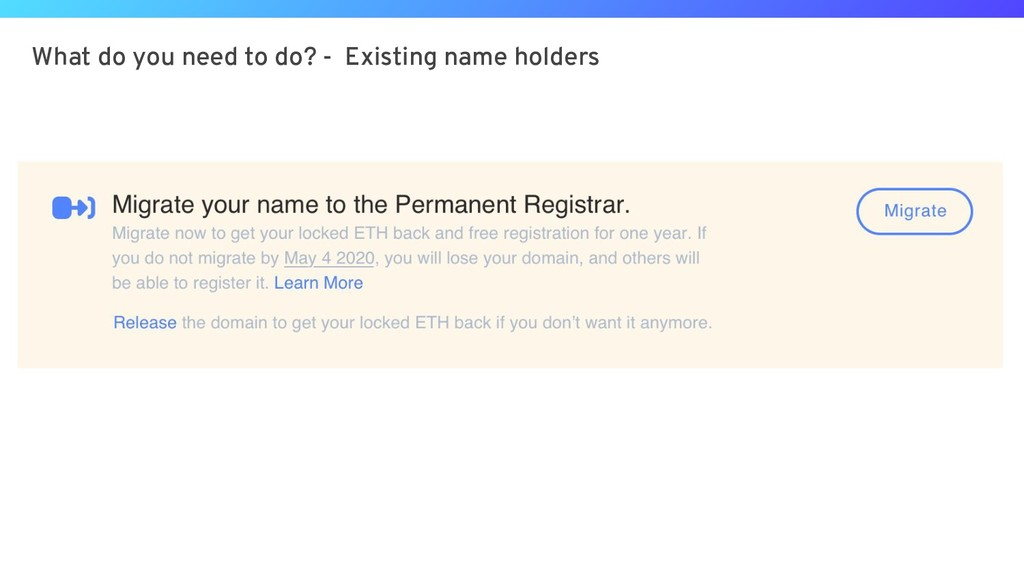 What do you need to do? - Existing name holders