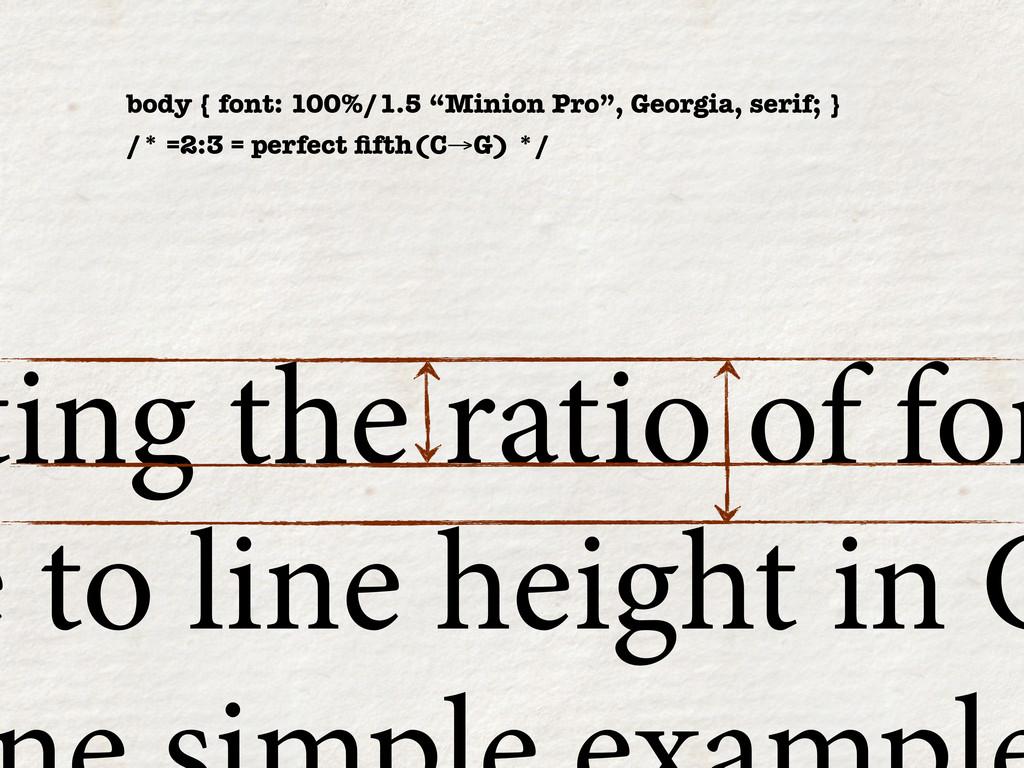"body { font: 100%/1.5 ""Minion Pro"", Georgia, se..."