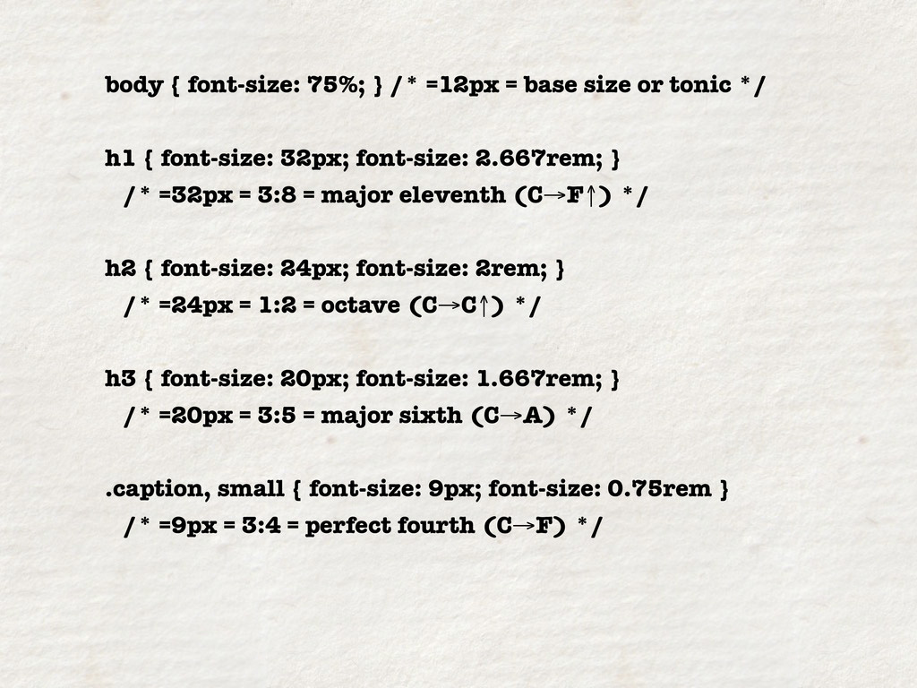 body { font-size: 75%; } /* =12px = base size o...