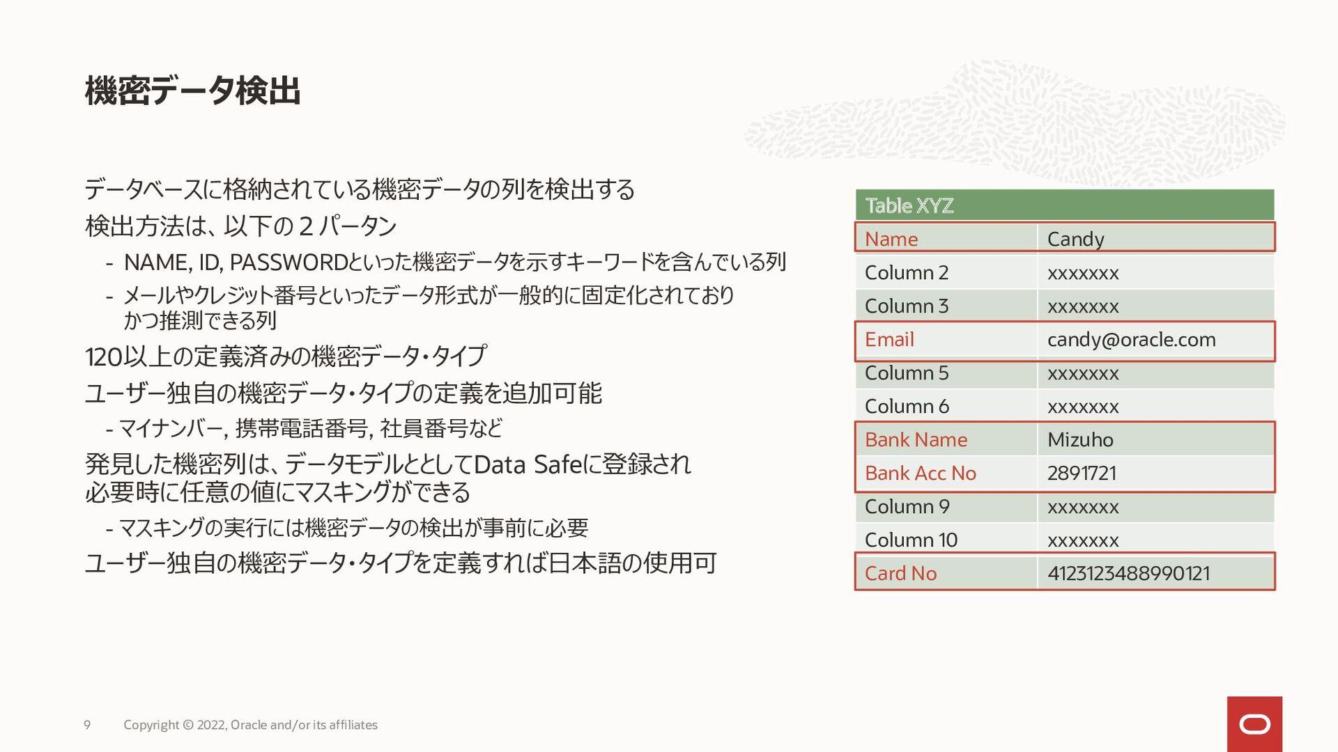 Data Masking (データ・マスキング) 独自マスキング・フォーマットの設定例 9 C...