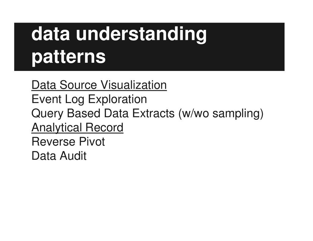 data understanding patterns Data Source Visuali...