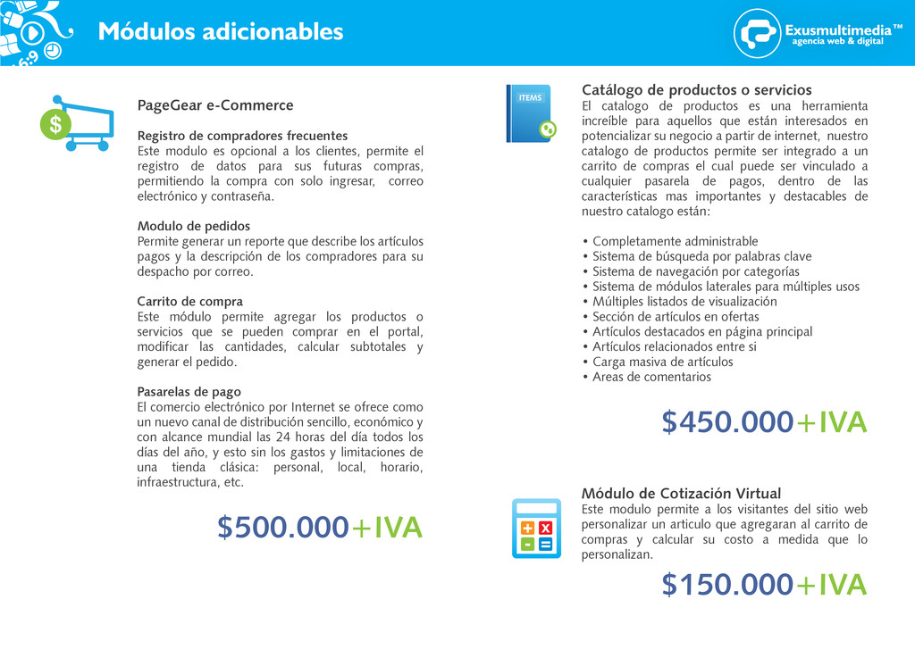Módulos adicionables PageGear e-Commerce Regist...