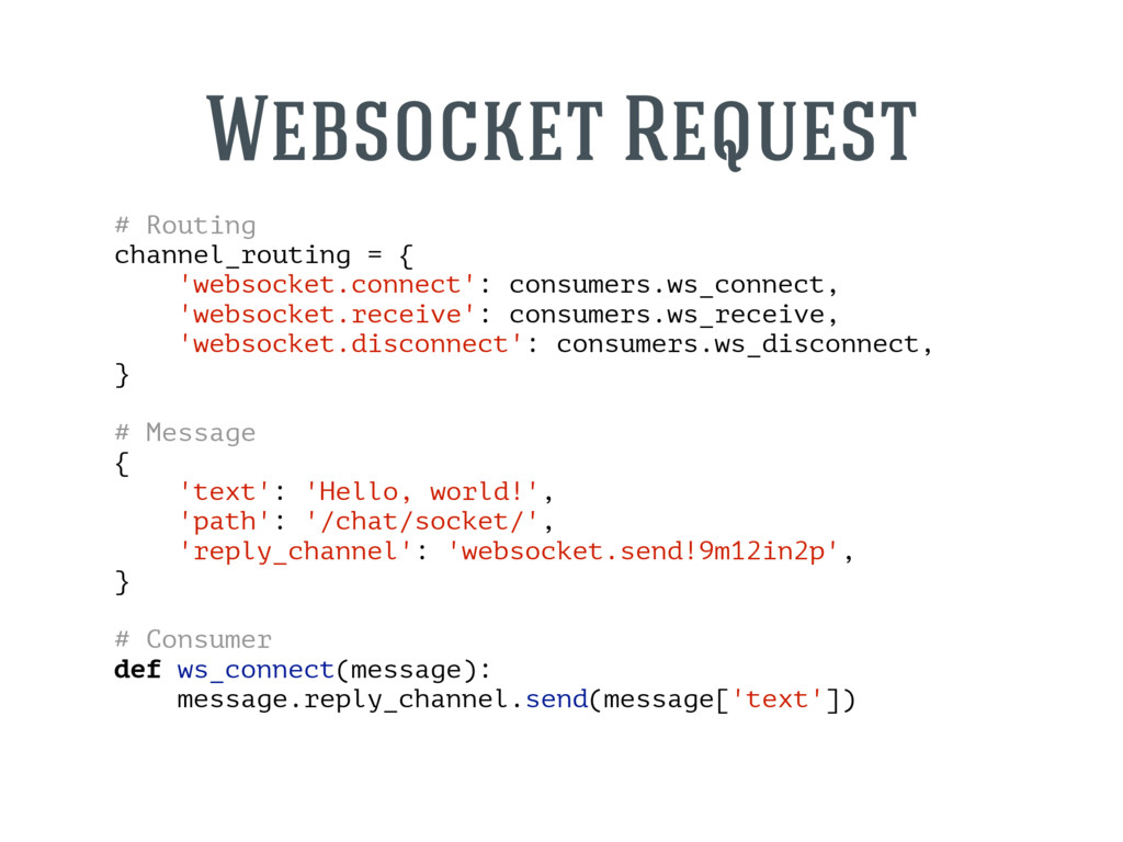 # Routing channel_routing = { 'websocket.connec...
