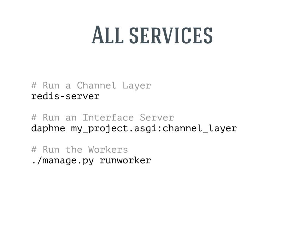 # Run a Channel Layer redis-server # Run an Int...
