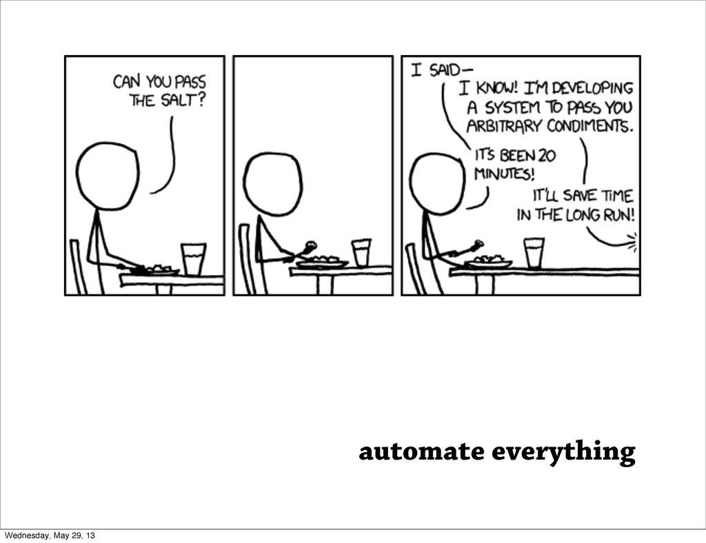 automate everything Wednesday, May 29, 13