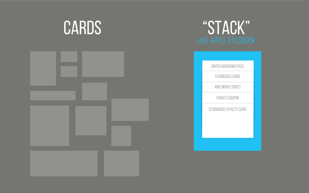 "Cards Like Apple Passbook ""Stack"" United BOARDI..."