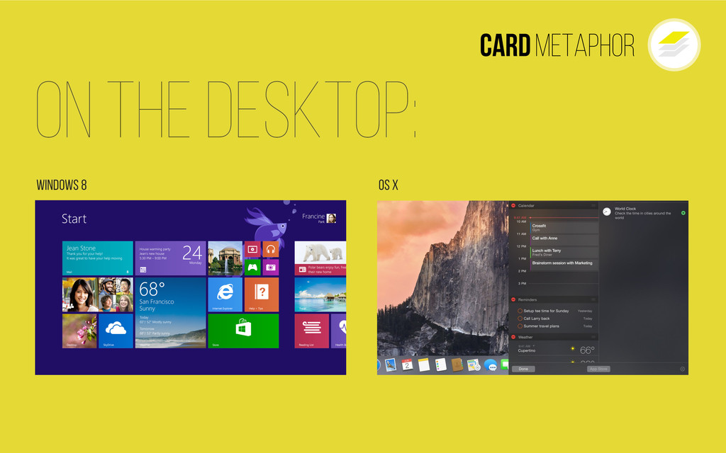 Cardmetaphor On The Desktop: Windows 8 Os X