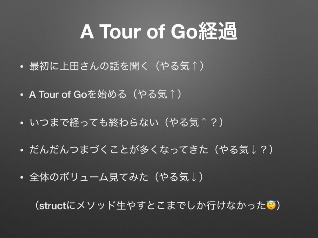 A Tour of Goܦա • ࠷ॳʹ্ా͞ΜͷΛฉ͘ʢΔؾˢʣ • A Tour of...