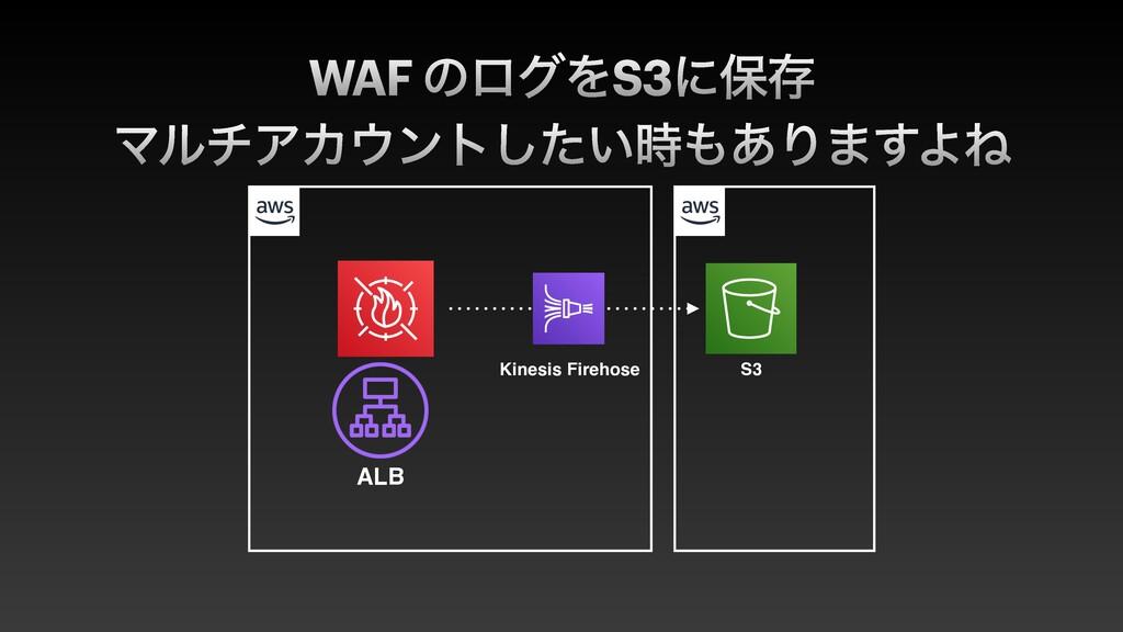 WAF ͷϩάΛS3ʹอଘ ALB Kinesis Firehose S3 ϚϧνΞΧϯτ͠...
