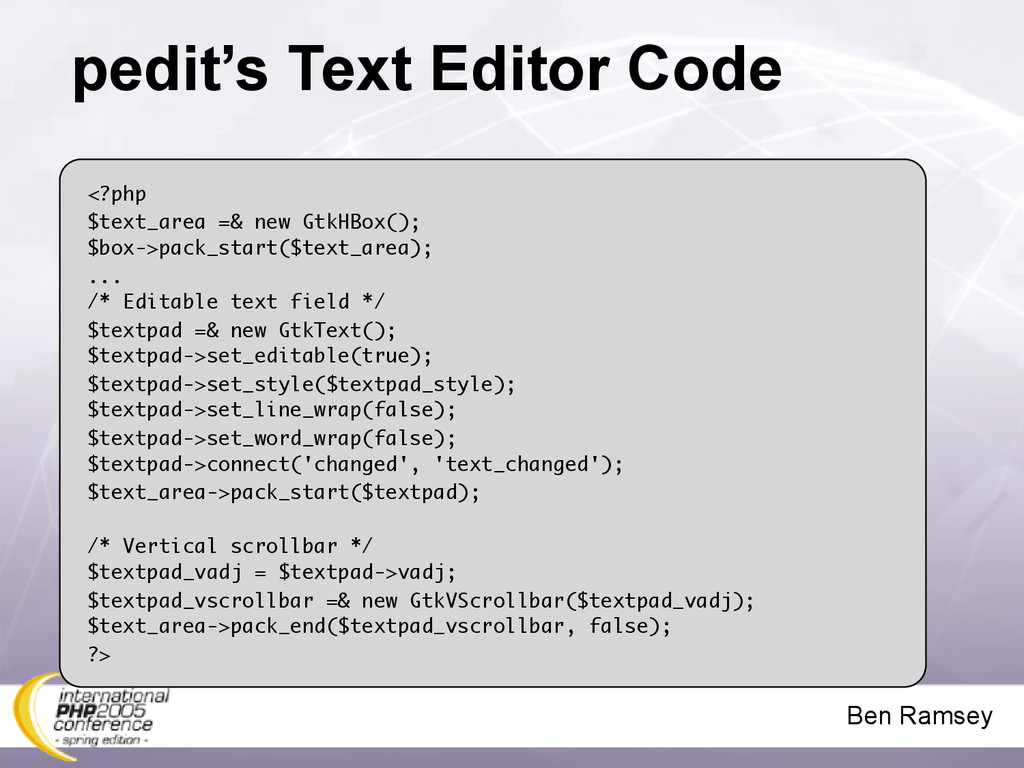 Ben Ramsey pedit's Text Editor Code <?php $text...