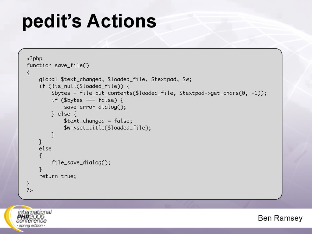 Ben Ramsey pedit's Actions <?php function save_...