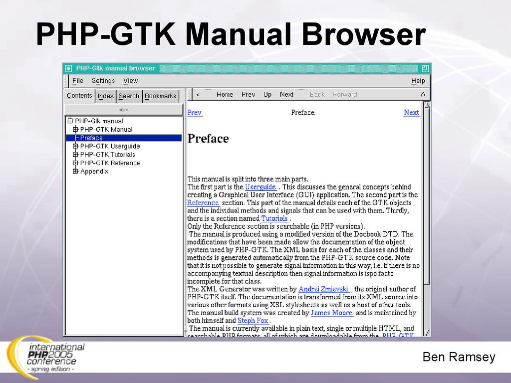 Ben Ramsey PHP-GTK Manual Browser
