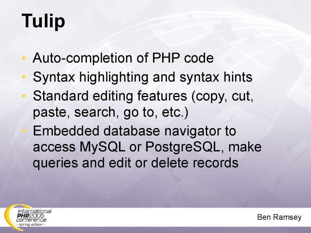 Ben Ramsey Tulip • Auto-completion of PHP code ...