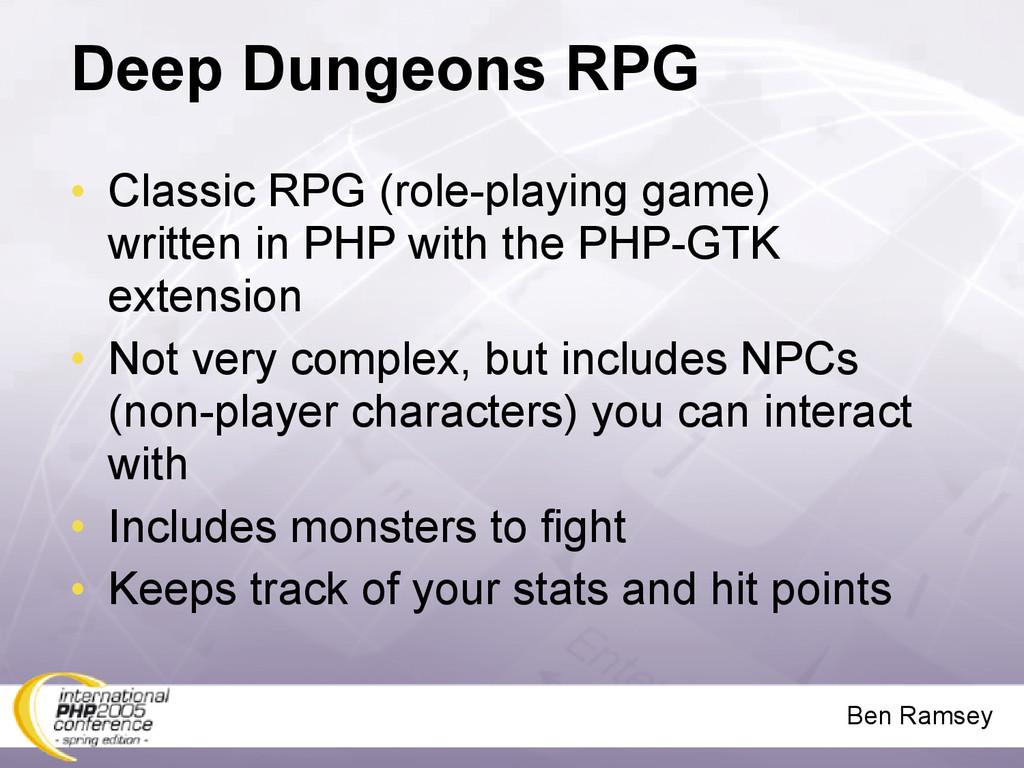 Ben Ramsey Deep Dungeons RPG • Classic RPG (rol...