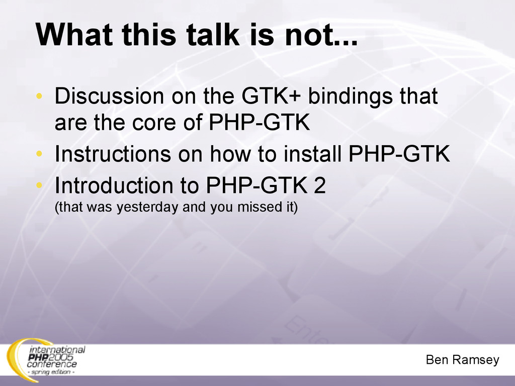 Ben Ramsey What this talk is not... • Discussio...