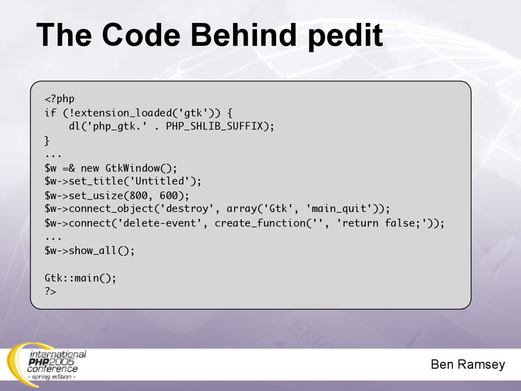 Ben Ramsey The Code Behind pedit <?php if (!ext...