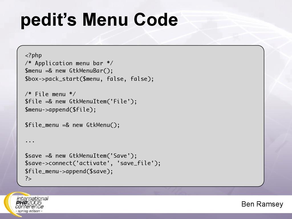 Ben Ramsey pedit's Menu Code <?php /* Applicati...