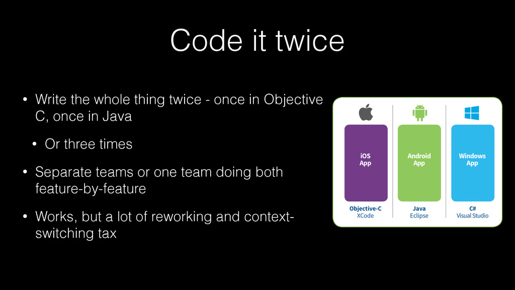 Code it twice • Write the whole thing twice - o...