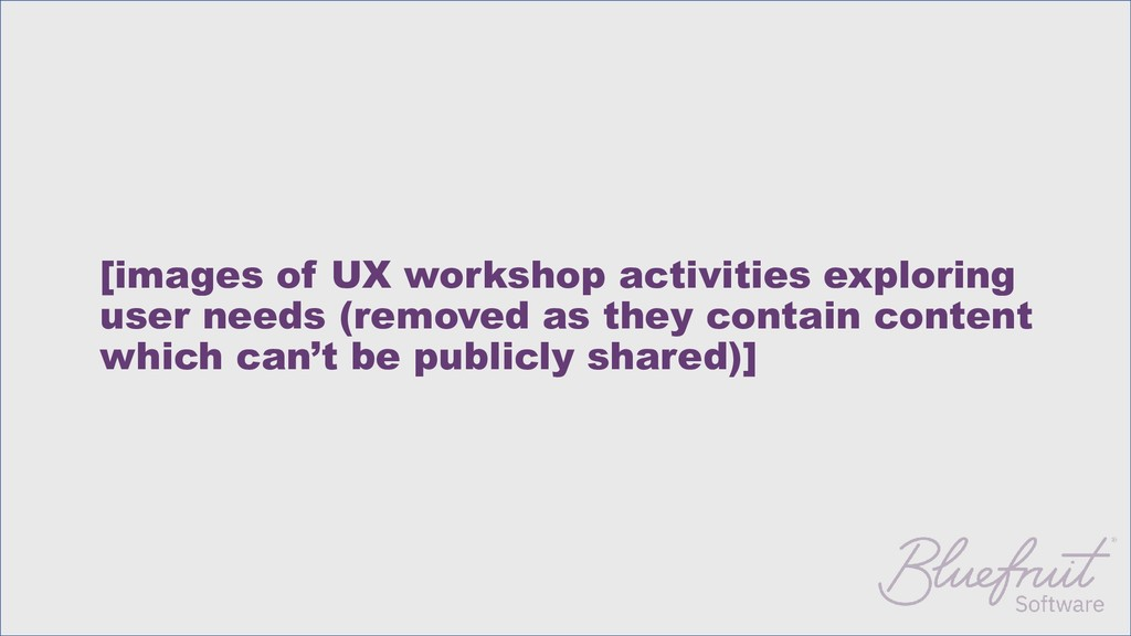[images of UX workshop activities exploring use...