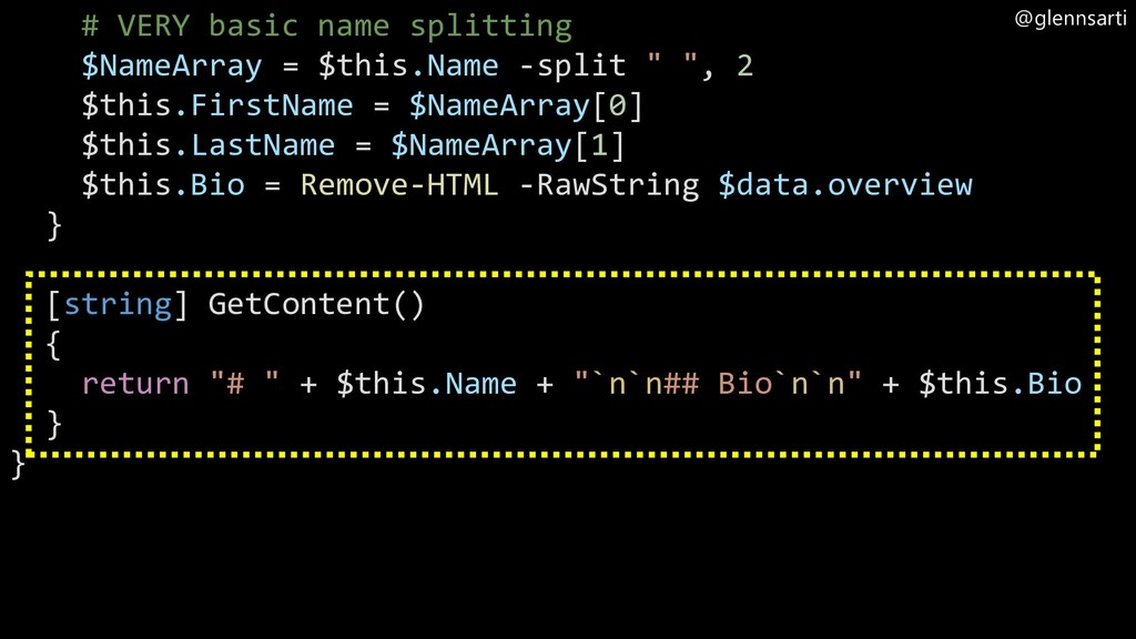 @glennsarti # VERY basic name splitting $NameAr...