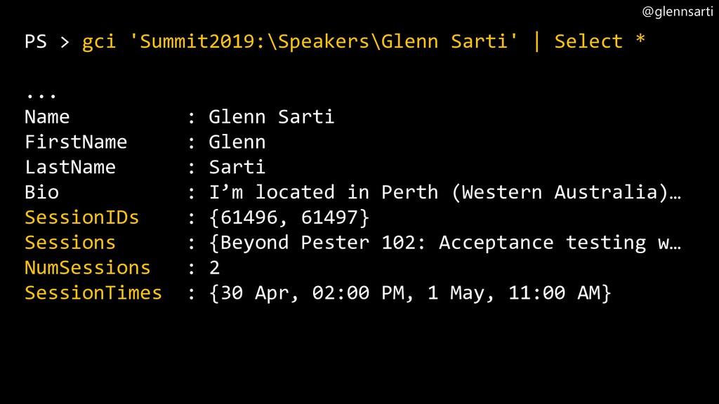 @glennsarti PS > gci 'Summit2019:\Speakers\Glen...