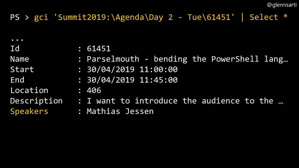 @glennsarti PS > gci 'Summit2019:\Agenda\Day 2 ...