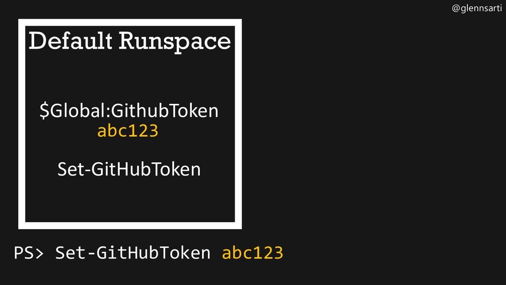 @glennsarti Default Runspace $Global:GithubToke...