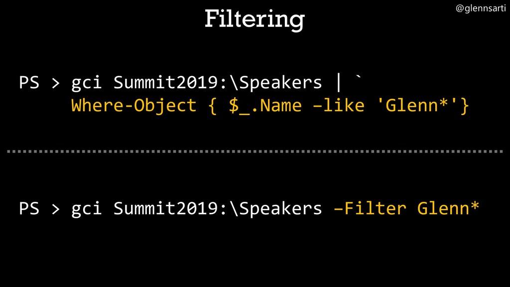 @glennsarti PS > gci Summit2019:\Speakers –Filt...