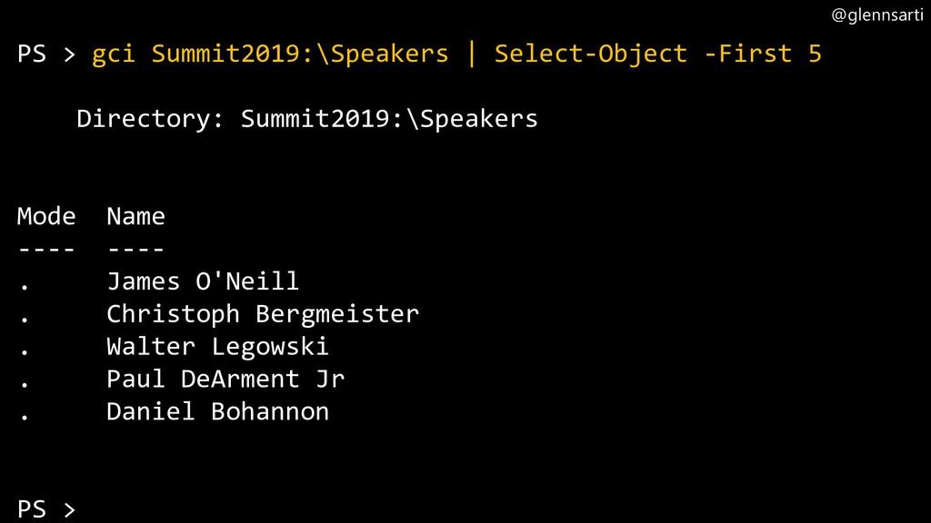 @glennsarti PS > gci Summit2019:\Speakers | Sel...