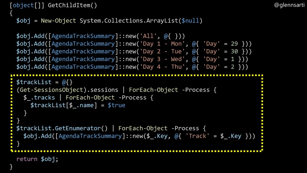 @glennsarti [object[]] GetChildItem() { $obj = ...