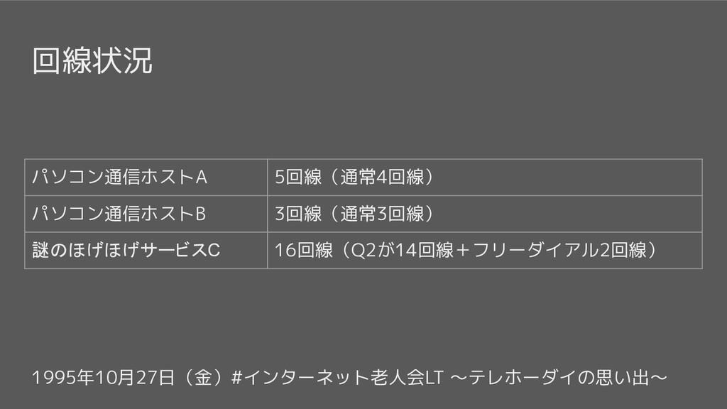 1995年10月27日(金)#インターネット老人会LT 〜テレホーダイの思い出〜 回線状況 パ...