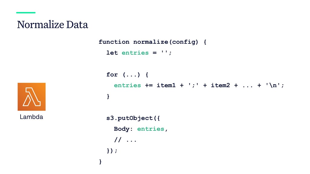 Normalize Data Lambda function normalize(config...