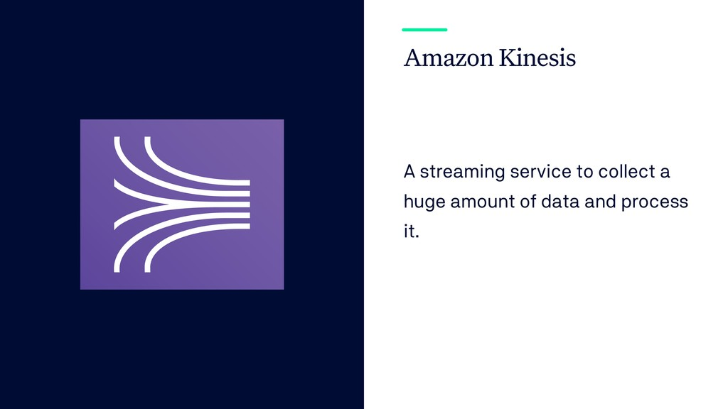 Amazon Kinesis A streaming service to collect a...