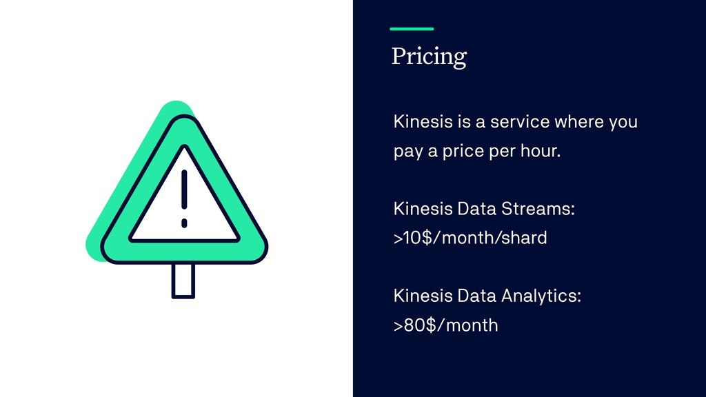 Pricing Kinesis is a service where you pay a pr...