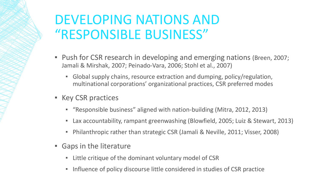 "DEVELOPING NATIONS AND ""RESPONSIBLE BUSINESS"" ▪..."