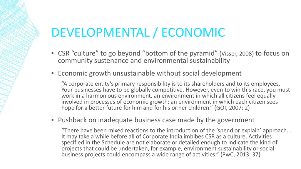 "DEVELOPMENTAL / ECONOMIC ▪ CSR ""culture"" to go ..."