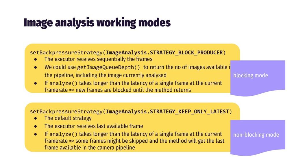 Image analysis working modes setBackpressureStr...