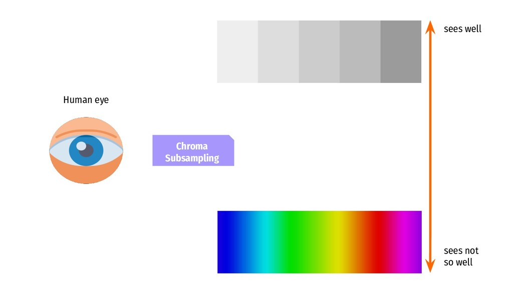 Human eye sees well sees not so well Chroma Sub...